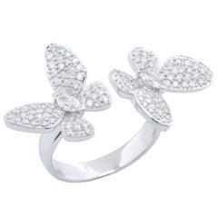 Butterfly Motif Diamond 18 Karat White Gold Ring
