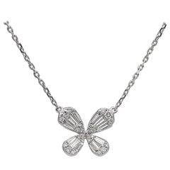 Butterfly Necklace Diamonds .60 Carat E/VS 18 Karat Gold