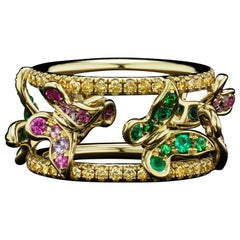 JAG New York 18 Karat Emerald, Tsavorite, Purple & Pink Sapphire Butterfly Ring