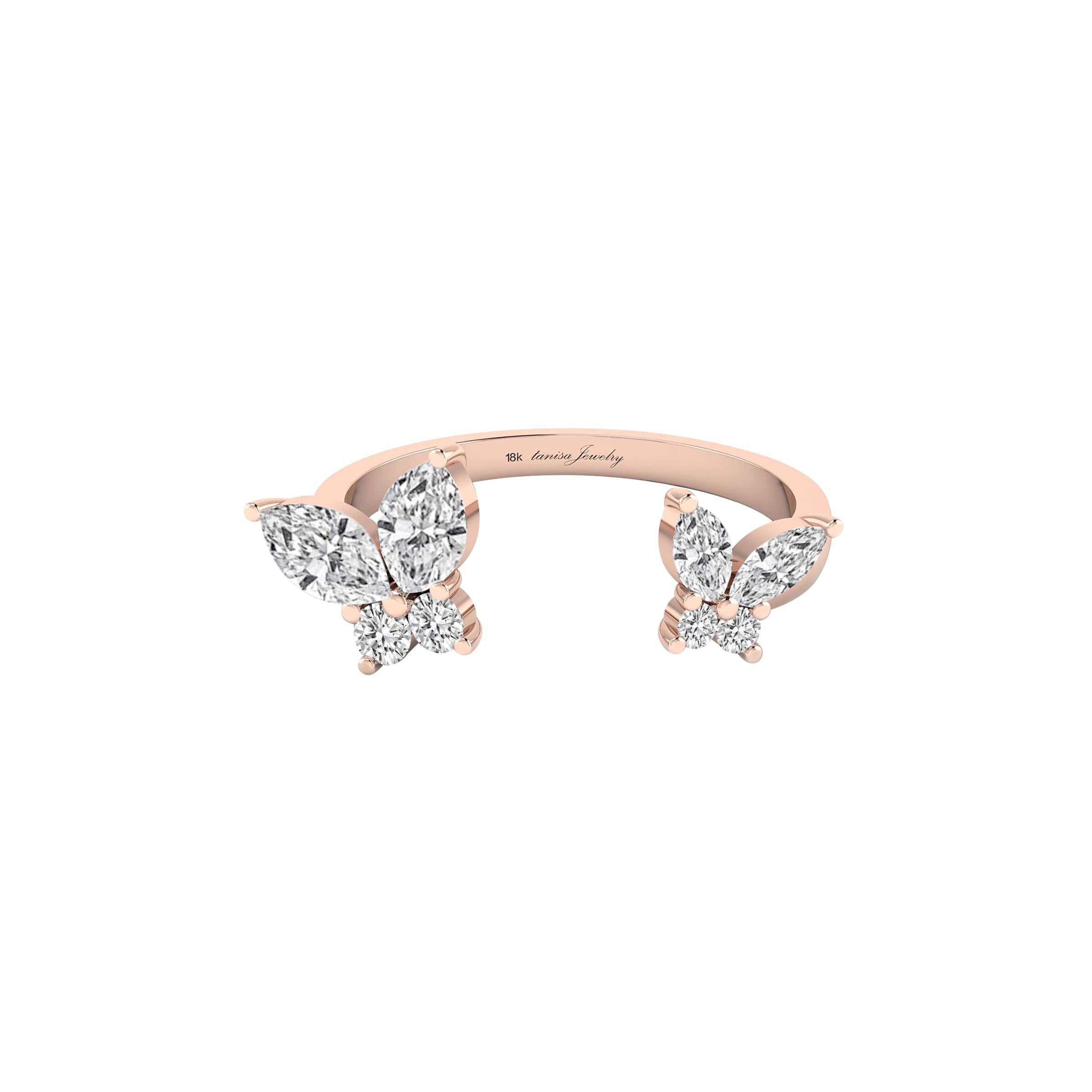 Butterfly Open Ring with Diamond in 18 Karat Rose Gold