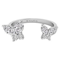 Butterfly Open Ring with Diamond in 18 Karat White Gold