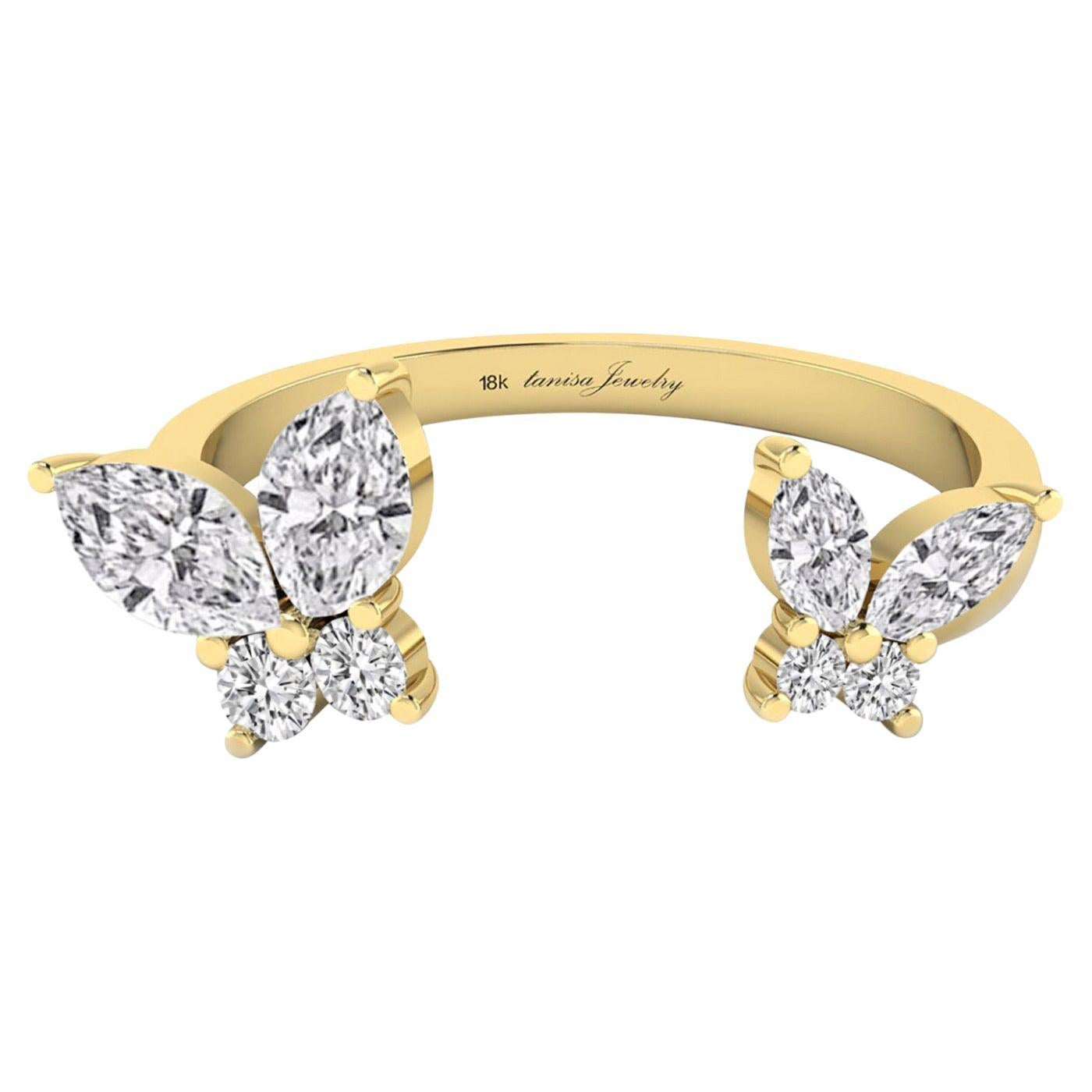 Butterfly Open Ring with Diamond in 18 Karat Yellow Gold