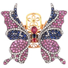 Butterfly Ruby Diamond Cocktail Ring