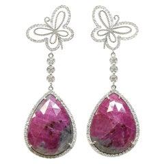 Butterfly Ruby Earrings in 18 Karat White Gold