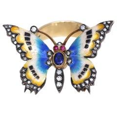 Butterfly Sapphire Diamonds Color Enamel Ring, 1950
