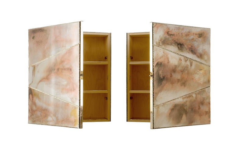 Butterfly sculpture Cabinet, Two Opening Doors, Birch Wood Coated Silvered Glass For Sale 3