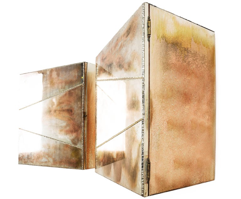 Brass Butterfly sculpture Cabinet, Two Opening Doors, Birch Wood Coated Silvered Glass For Sale