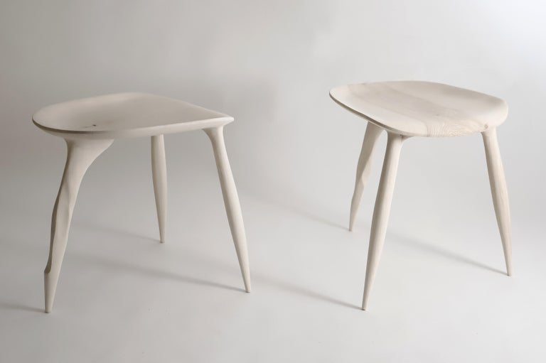 Butterfly Sycamore Stool, Hand-Sculpted and Signed by Cedric Breisacher In New Condition For Sale In Geneve, CH