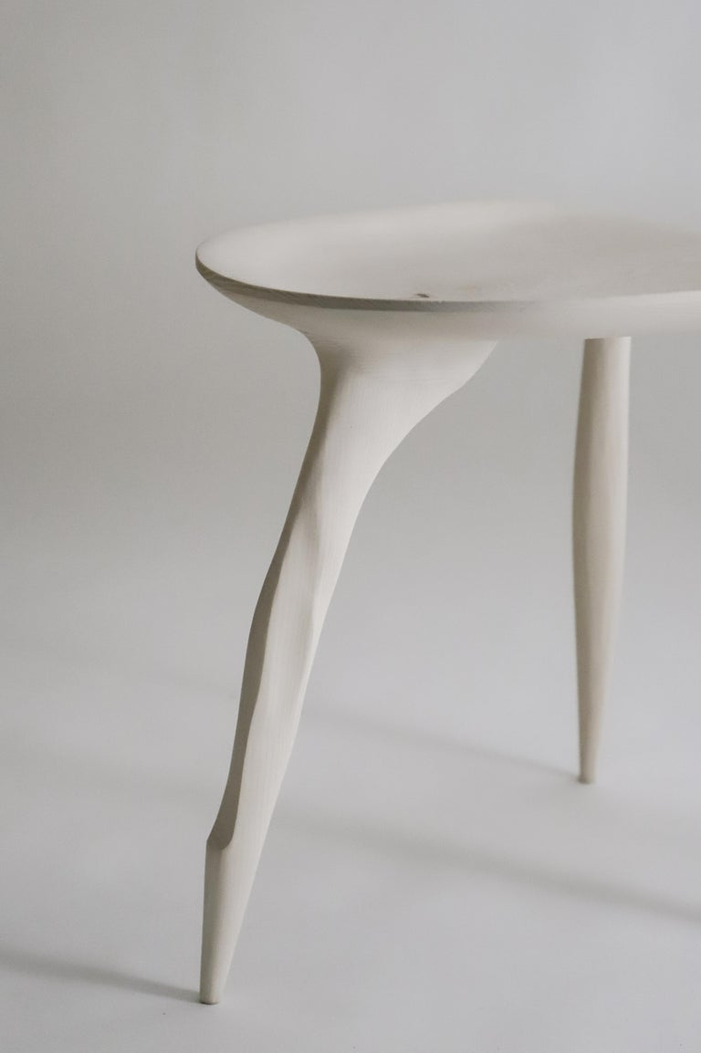 Contemporary Butterfly Sycamore Stool, Hand-Sculpted and Signed by Cedric Breisacher For Sale
