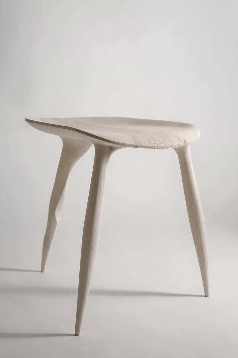 Butterfly Sycamore Stool, Hand-Sculpted and Signed by Cedric Breisacher For Sale 3