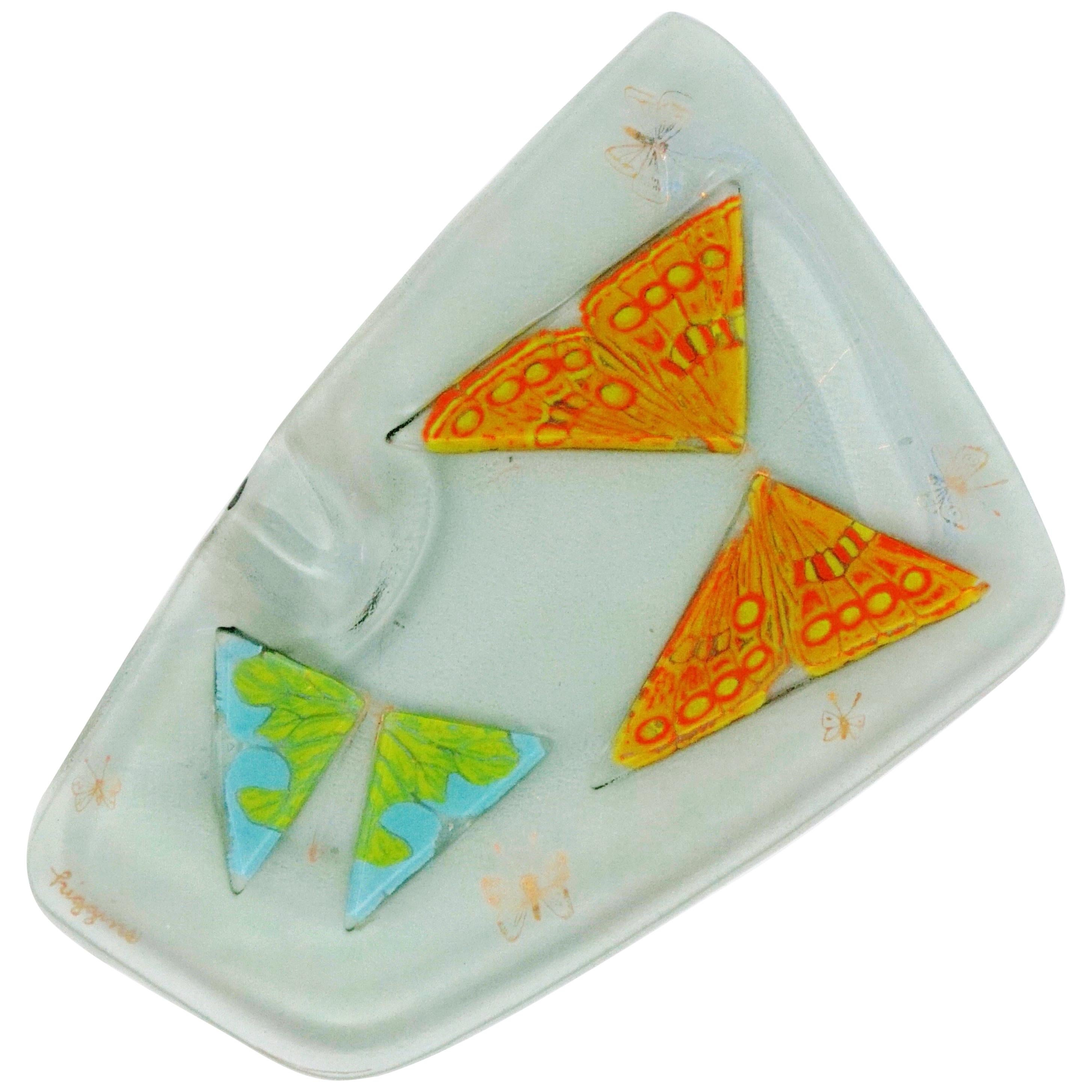 Butterfly Themed Fused Art Glass Ashtray by Higgins, Signed, circa 1950s