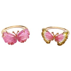 Butterfly Tourmaline Ring 18k Gold Vintage Style