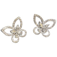 KAHN Butterfly White Diamond Jacket Earring