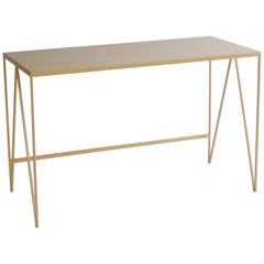 Butternut Study Desk with Natural Linoleum Table Top, Customizable