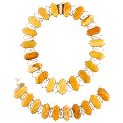 Butterscotch Natural Amber Necklace and Bracelet Set in Yellow Gold