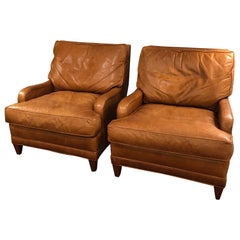 Buttery Pair of Caramel Leather Nancy Corzine Club Chairs