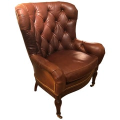 Buttery Tufted Leather Wing Chair with Nailheads