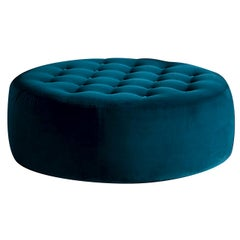 Button Blue Ottoman