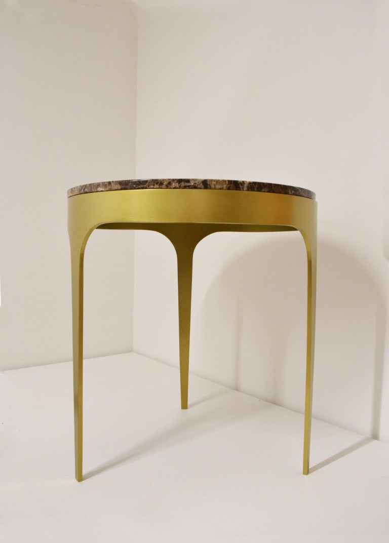 Modern 'Button' Centre or Coffee Table in Spanish Emperor Marble For Sale