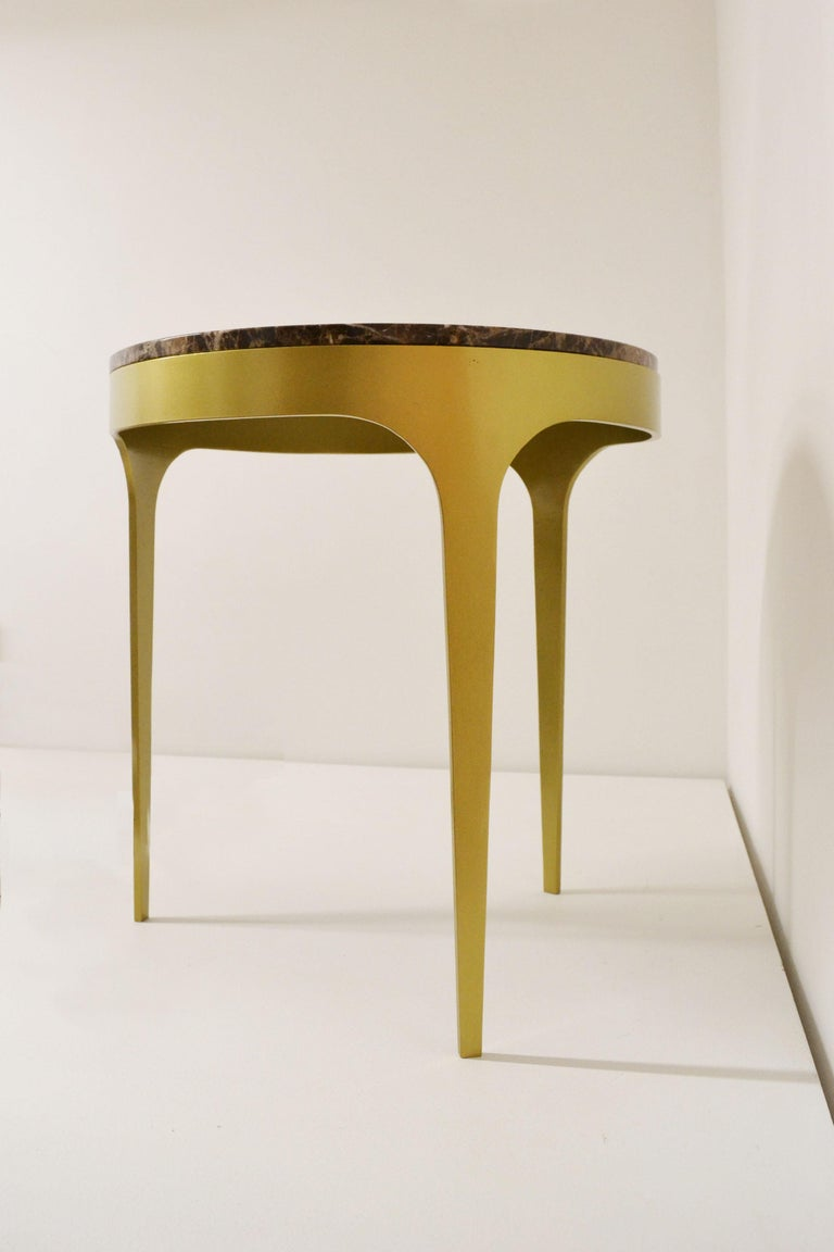 Contemporary 'Button' Centre or Coffee Table in Spanish Emperor Marble For Sale