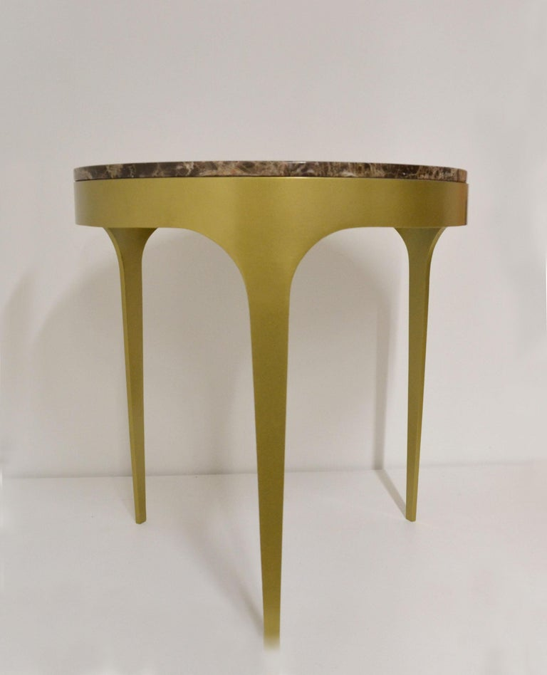 Iron 'Button' Centre or Coffee Table in Spanish Emperor Marble For Sale