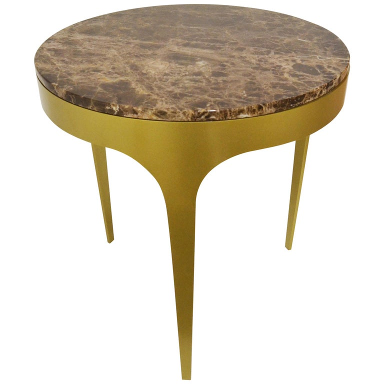 'Button' Centre or Coffee Table in Spanish Emperor Marble For Sale