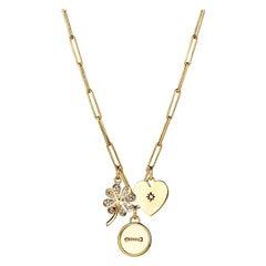 Button, Clover & Heart Pendant Necklace with Diamonds