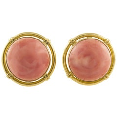 Orange/Pink Coral Buttons, 18K Yellow Gold Clip-on Earrings