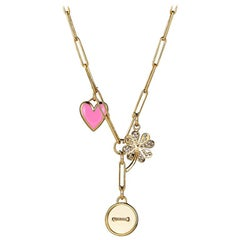 Button, Heart & Clover Pendant Necklace, 14K Yellow Gold with Diamonds