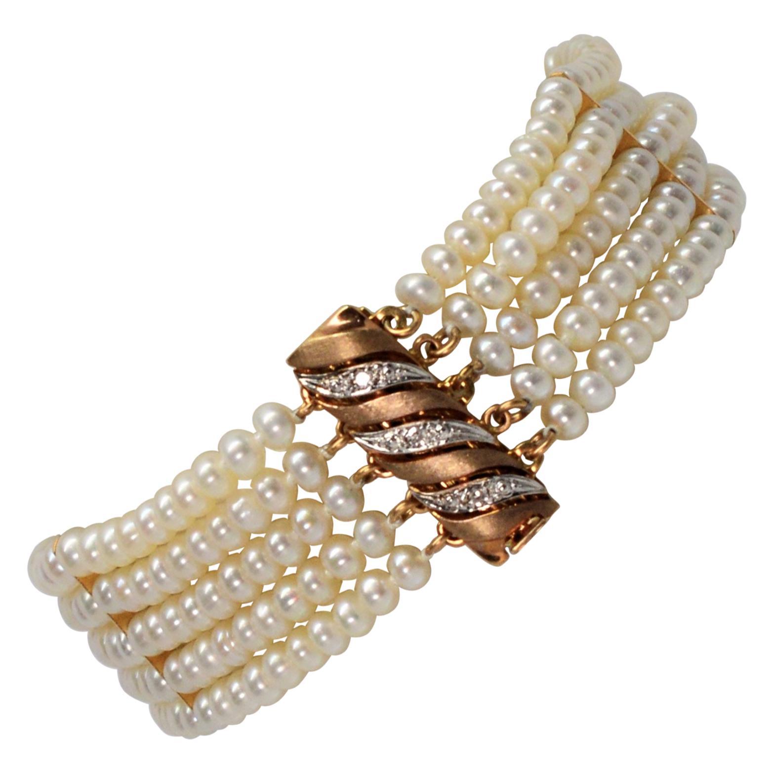 Button Pearl Multi Strand Bracelet with Gold Diamond Swirl Charm Clasp