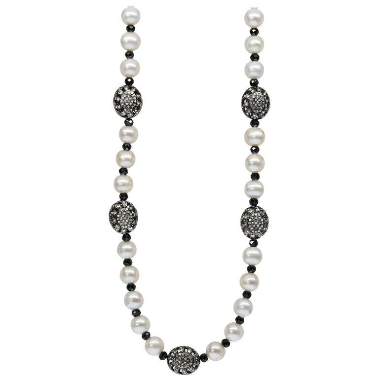 Button Pearl Necklace with Fancy Sterling Silver and