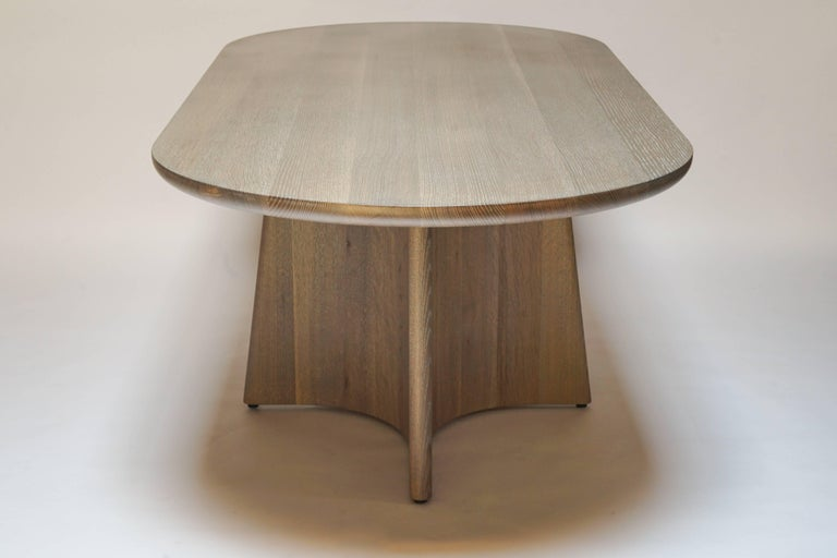 Modern Button Racetrack Dining Table in Oxidized and Cerused Rift White Oak For Sale