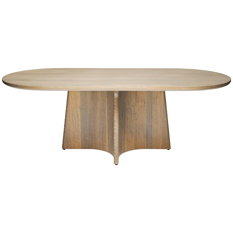 Button Racetrack Dining Table in Oxidized and Cerused Rift White Oak For Sale
