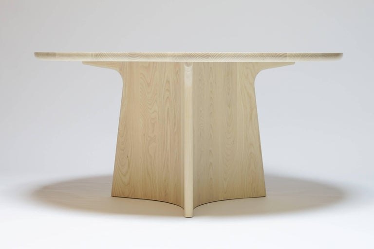 Modern Button Round Pedestal Dining Table in Bleached Solid Ash For Sale