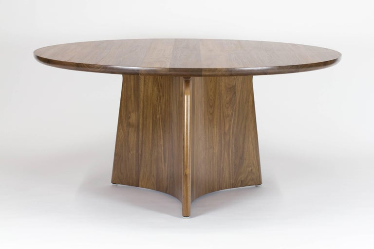 Button Round Pedestal Dining Table in Bleached Solid Ash For Sale 2