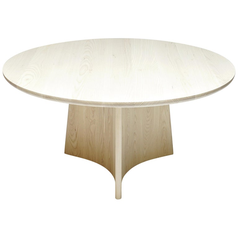 Button Round Pedestal Dining Table in Bleached Solid Ash For Sale