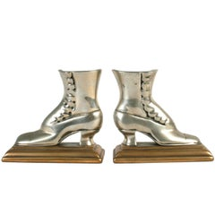 Button-Up Shoe Brass Bookends