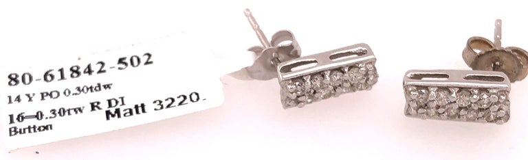 Button White Gold Earrings with 16 Diamonds For Sale 3