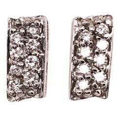 Button White Gold Earrings with 16 Diamonds