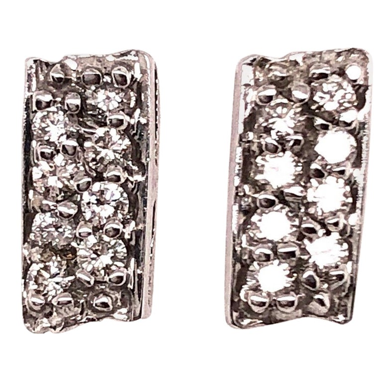 Button White Gold Earrings with 16 Diamonds For Sale