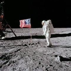 Buzz Aldrin. Apollo 11. 'Flag on the Moon' Dye Sublimation Print on Aluminium
