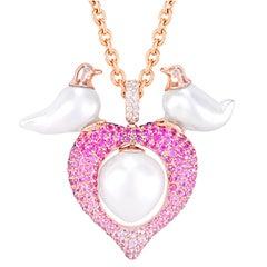 Buzzanca South Sea Pearl and Sapphire Love Bird Pendent