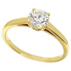 Bvlgari 0.65 Carat Diamond 18 Karat Yellow Gold Griffe Solitaire Ring