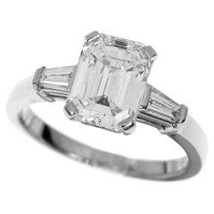 Bvlgari 1.61 Carat Diamond Platinum Griffe Solitaire Ring