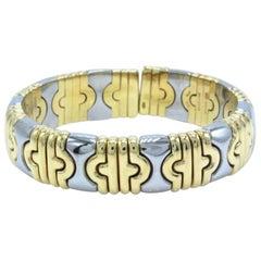 Bvlgari 18 Karat Gold and Stainless Steel Parentesi Bangle Bracelet 2-Tone