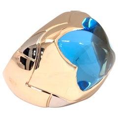 """Bvlgari 18 Karat Gold Blue Topaz """"Piramide"""" Ring"""