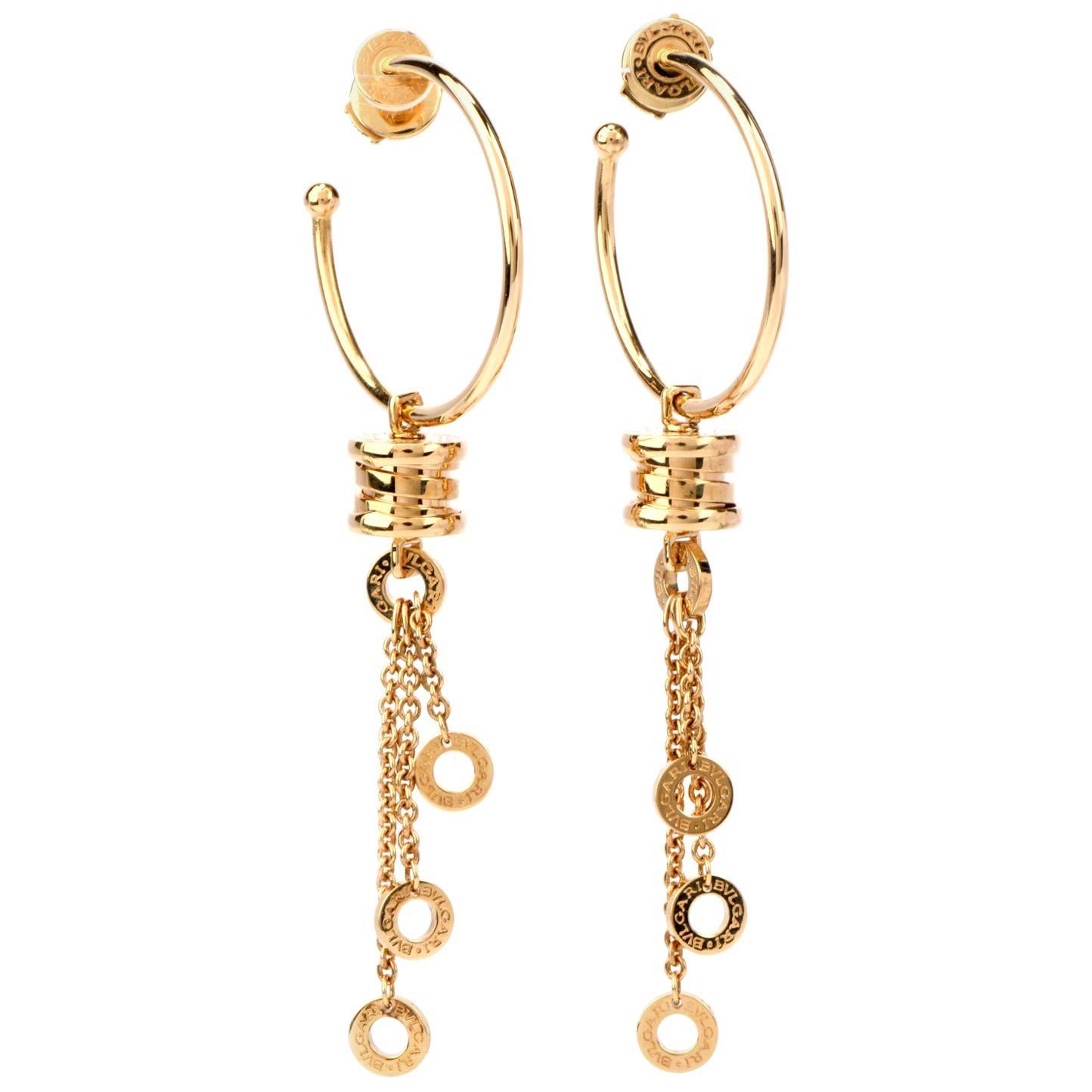 Bvlgari 18 Karat Gold B.Zero1 Dangle Hoop Earrings