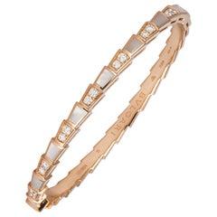 Bvlgari 18 Karat Gold Diamond & Mother of Pearl Serpenti Bangle Bracelet Bulgari
