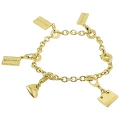 Bvlgari 18 Karat Gold Five-Charm Bracelet Condotti Heart Memo Bond St 5Th Ave