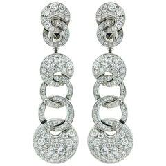 Bulgari 18 Karat Gold Pave Diamond Dangle Earrings